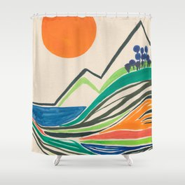Landscape in many colours and lines Shower Curtain