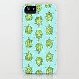 Tortoise Pattern with aqua background iPhone Case