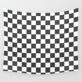 Gingham Dark Slate Grey Checked Pattern Wall Tapestry