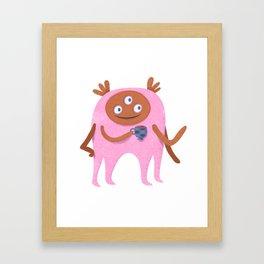 Neon pink Retro monster enjoying a cup of tea Framed Art Print