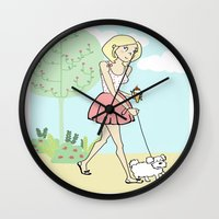 icecream Wall Clocks featuring Icecream by Marisa Marín