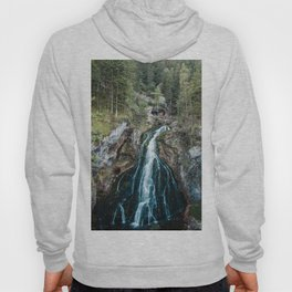 königssee waterfall alps bayern forrest drone aerial shot nature wanderlust Hoody