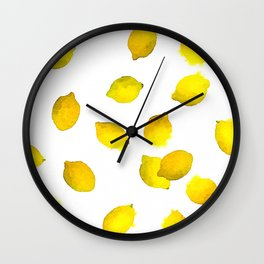 Lemon Watercolor Pattern Wall Clock