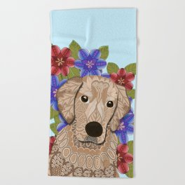 Golden Retriever Beach Towel
