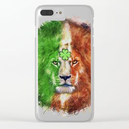 St. Patrick's Day Irish Lion Clear iPhone Case