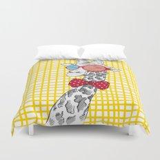 3D Giraffe / Yellow White & Red Print Duvet Cover