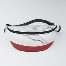 White Marble Red Hot Striped Fanny Pack
