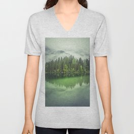 Mystical morning at the Hintersee lake in Germany Unisex V-Neck