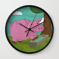 pig Wall Clocks featuring Pig by Claire Lordon