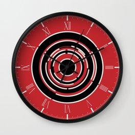 Red Black Circular Abstract Background Wall Clock