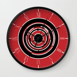 Red Black Circular Abstract Background Wall Clock