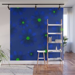 Blue Flowers Beautiful Pattern Wall Mural