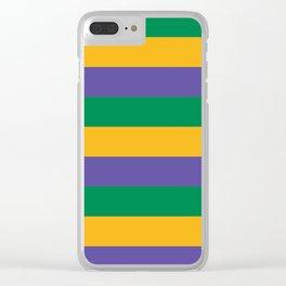 Mardi Gras Rugby Stripe Clear iPhone Case