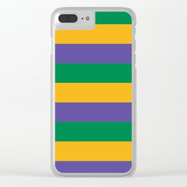 Mardi Gras Rugby Stripe Clear iPhone Case