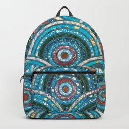 Aqua Teal Blue and Green Sparkling Faux Glitter Circles and Dots Backpack
