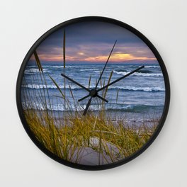 Sunset Photograph of a Dune with Beach Grass at Holland Michigan No 0199 Wall Clock