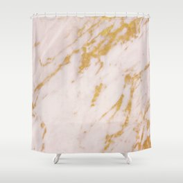 Rose Marble and Gold Shower Curtain