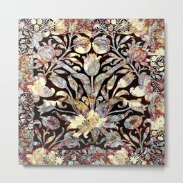 Morris Tulips Burgundy and Silver Sparkle Pattern Metal Print
