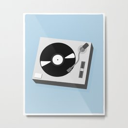 Turntable Illustration Metal Print