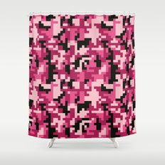 Pink and Black Pixel Camo pattern Shower Curtain