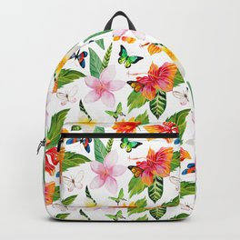 Bright Tropical Flowers and Butterflies Backpack