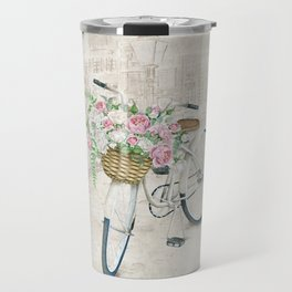 Vintage bicycles with roses basket Travel Mug