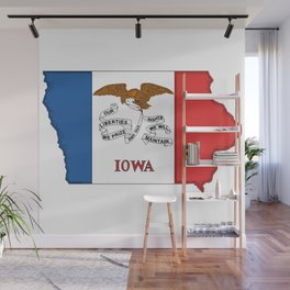 Iowa Map with Iowan Flag Wall Mural