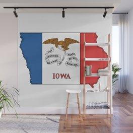 Iowa Map with Iowan Flag Wall Mural