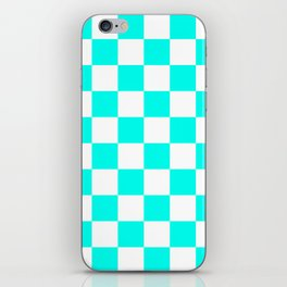 Blue, Turquoise: Checkered Pattern iPhone Skin