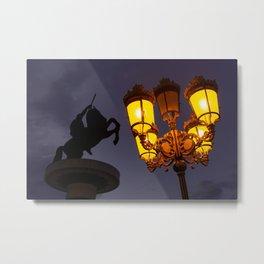 Skopje statue and streetlights at night Metal Print