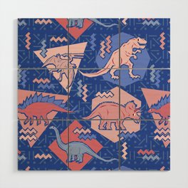 Nineties Dinosaurs Pattern  - Rose Quartz and Serenity version Wood Wall Art