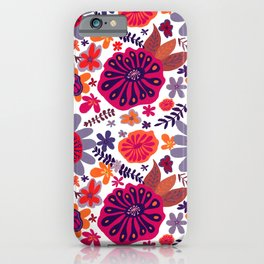 Playful Flowers in Bright Warm colors iPhone Case