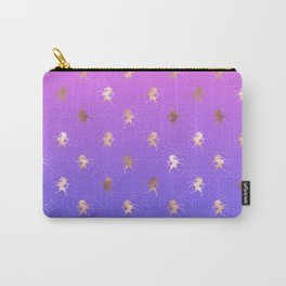 Pink Purple Blue Gradient With Rose Gold Unicorn Pattern Carry-All Pouch