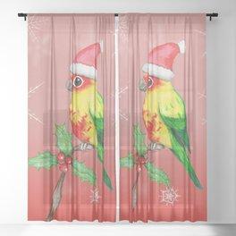 Christmas sun conure Sheer Curtain
