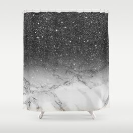 Stylish faux black glitter ombre white marble pattern Shower Curtain
