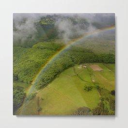 Hawaiian Rainbow Over Valley in Kauai: Aerial View Metal Print