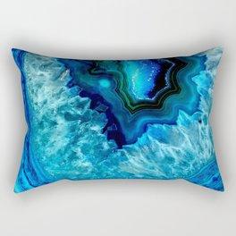 Turquoise Blue Teal Quartz Crystal Rectangular Pillow