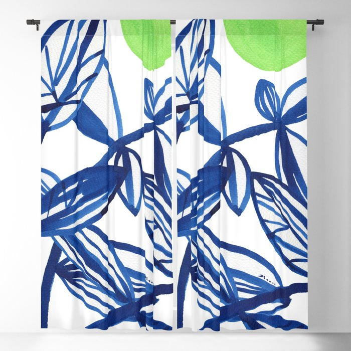 Navy Blue And Lime Green Abstract Leaves Blackout Curtain By Elenablanco
