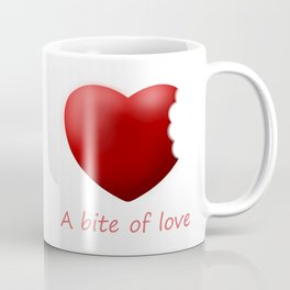 A bite of love (nibbled heart 2) with words Coffee Mug