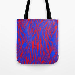 Zebra Print Red and Blue Tote Bag