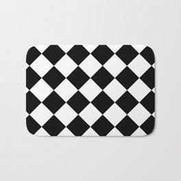 Large Diamonds - White and Black Bath Mat