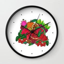 Red Fruits Drawing Wall Clock