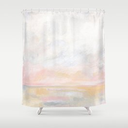 Ecstatic - Pink and Yellow Pastel Seascape Shower Curtain