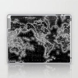 Black and White World Map (1864) Inverse Laptop & iPad Skin
