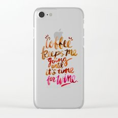 Coffee & Wine – Brown & Magenta Ombré Clear iPhone Case