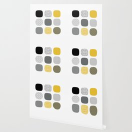 Abstract in mustard and grey Wallpaper