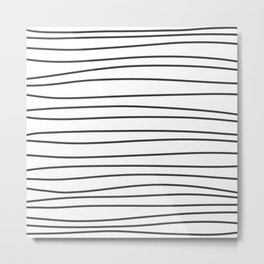 Black and White Brush Lines Metal Print