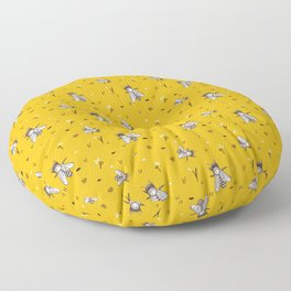 Save The Bees - Yellow Pattern Floor Pillow
