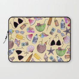 Summer Cute Girly Beach Collage on Yellow Laptop Sleeve