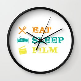 Eat Sleep Film Clapperboard Movie Actor Actress Gift Wall Clock